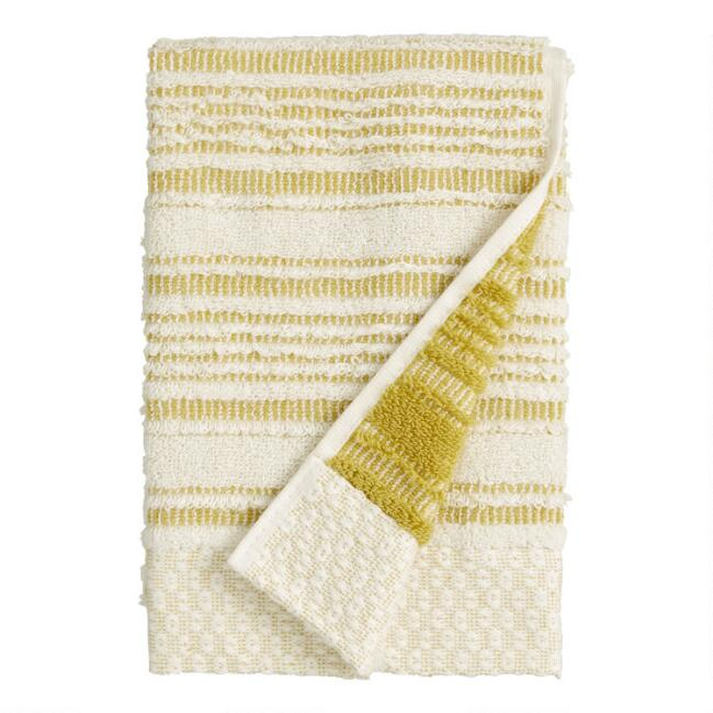 Cress Green Sculpted Stripe Tierny Hand Towel