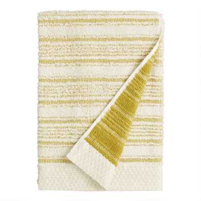 Cress Green Sculpted Stripe Tierny Bath Towel