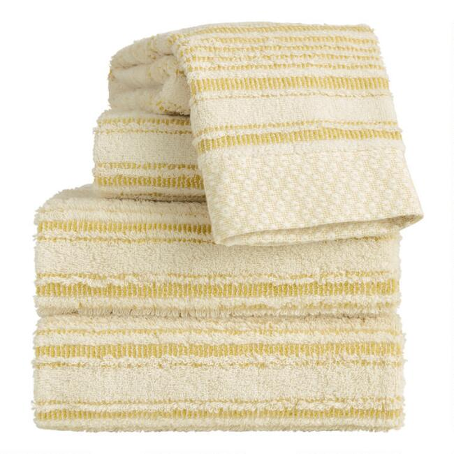 Cress Green Sculpted Stripe Tierny Towel Collection