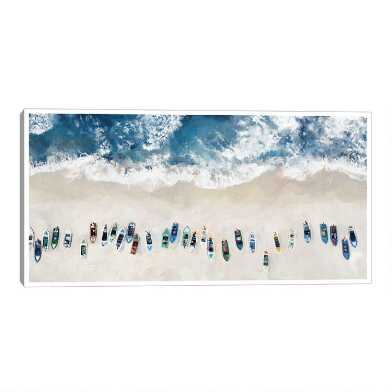 Blue Beach Below Framed Canvas Wall Art
