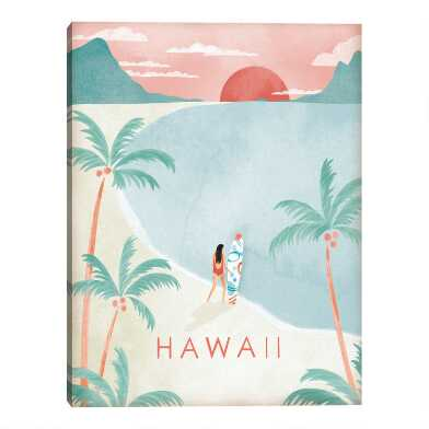 Hawaii Postcard by Clara Wells Canvas Wall Art