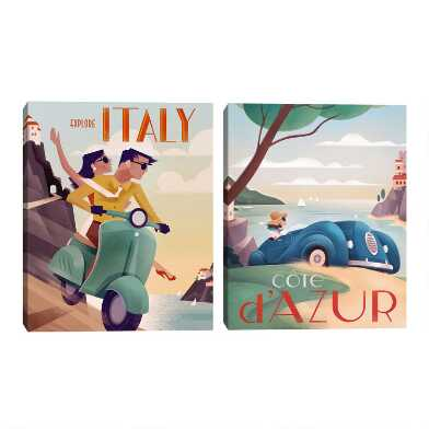 Italy & French Riviera by Martin Wickstrom Wall Art 2 Piece