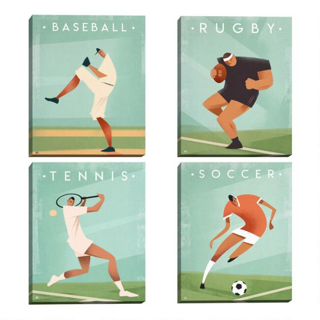 Vintage Sports by Martin Wickstrom Canvas Wall Art 4 Piece