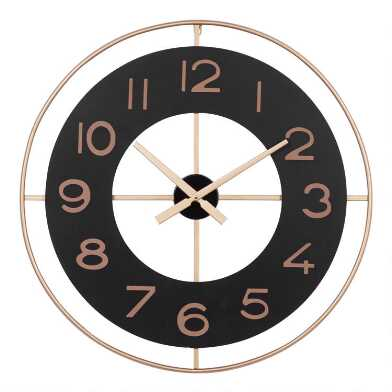 Black and Gold Frame Metal Wall Clock