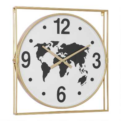 Gold and Black Metal World Map Wall Clock