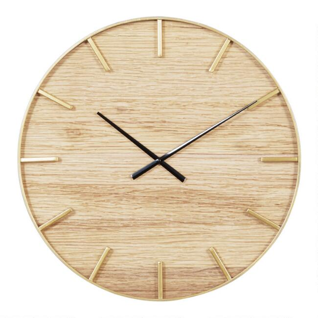 Wood Grain and Metal Wall Clock