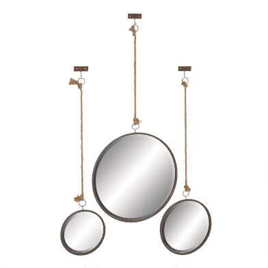 Round Hanging Wall Mirrors with Jute Rope 3 Piece