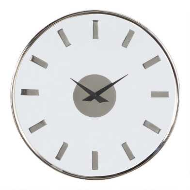 Silver Metal and Glass Wall Clock