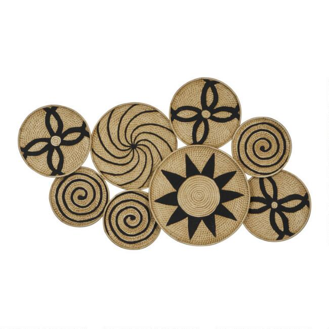 Brown and Black Symbol Metal Disc Wall Decor