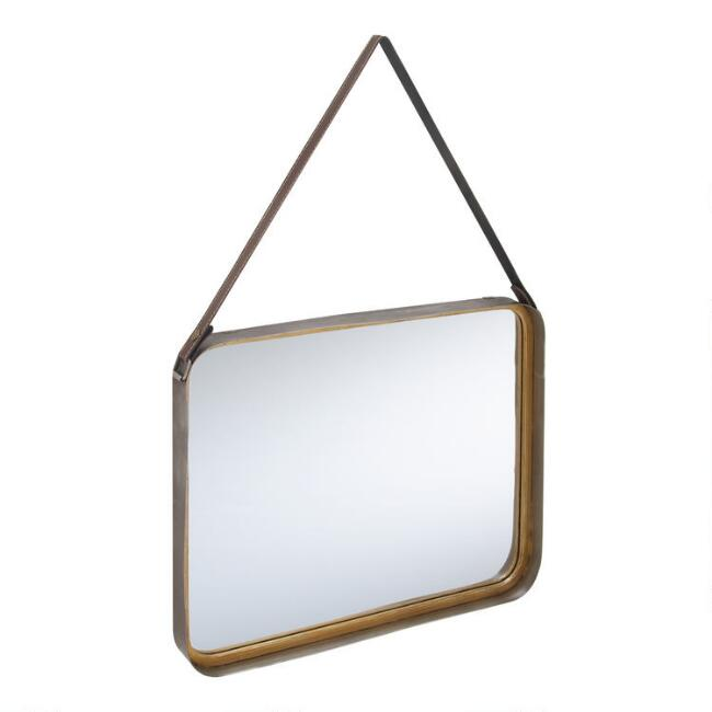 Rounded Rectangular Gold Mirror With Strap
