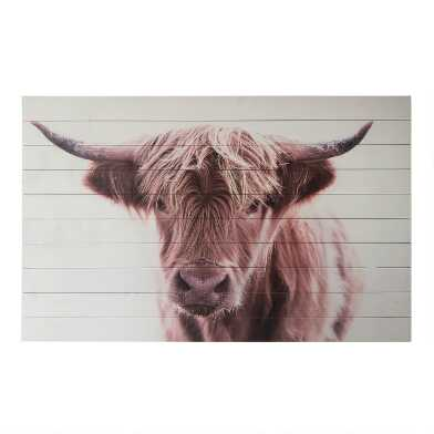 Brown Cow Wood Plank Wall Art