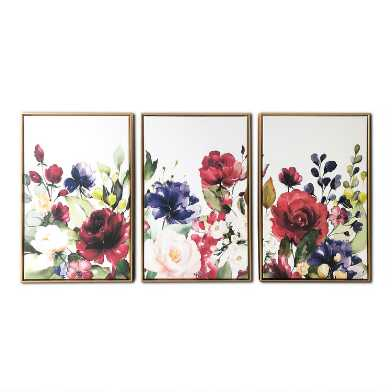 Floral Garden Triptych Framed Canvas Wall Art 3 Piece
