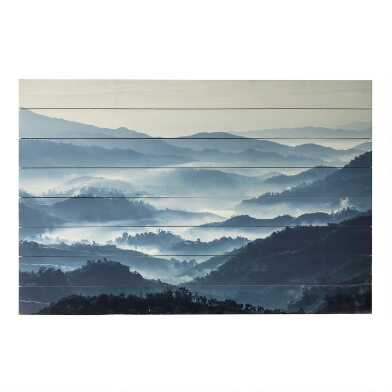 Misty Mountains Wood Plank Wall Art