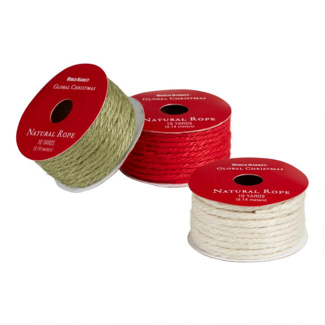 Red, Green And Natural Jute Holiday Ribbons Set of 3