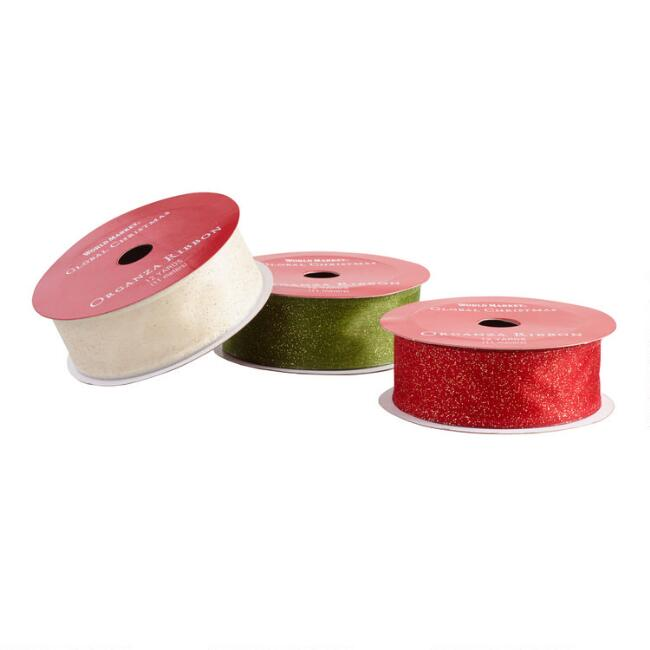 Red, Green And White Organza Holiday Ribbons Set of 3