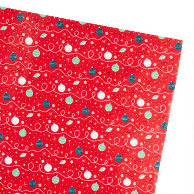 Red Ornaments And Lights Holiday Wrapping Paper Roll