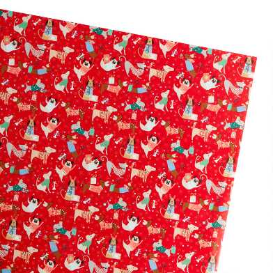 Red Festive Dogs Holiday Wrapping Paper Roll