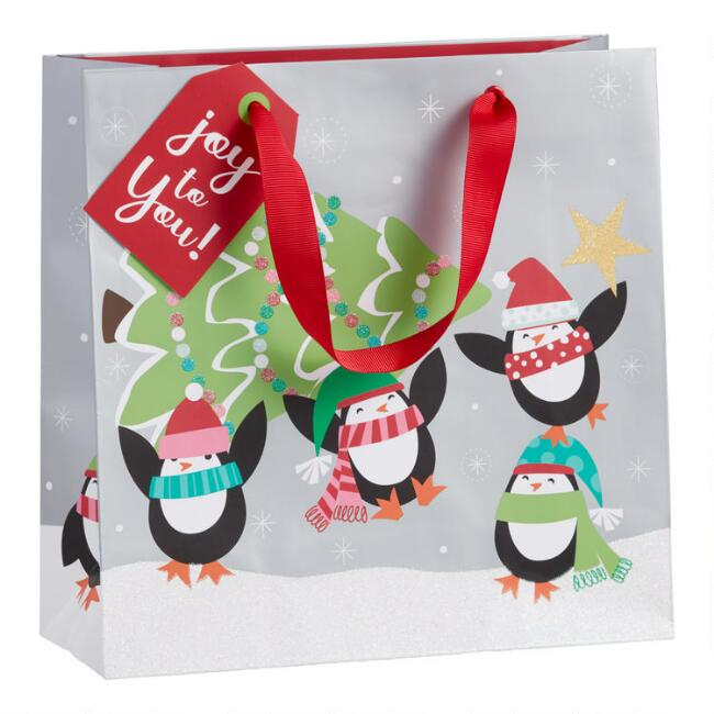 Medium Glittering Penguins And Tree Holiday Gift Bag