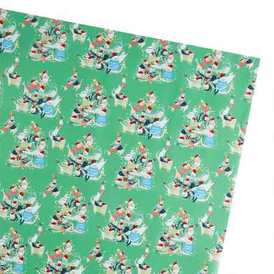 Green Festive Cat Tree Holiday Wrapping Paper Roll