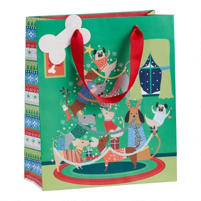 Medium Green Festive Dog Christmas Tree Holiday Gift Bag