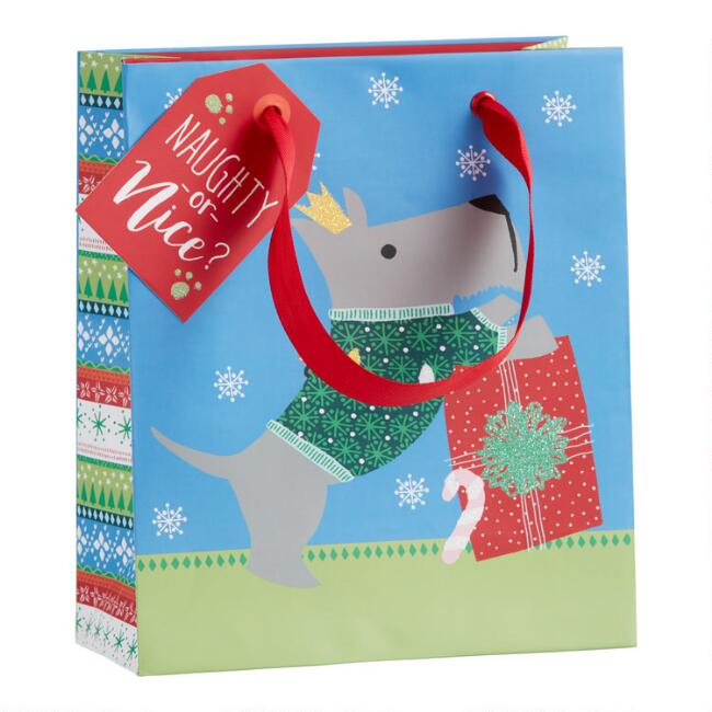 Small Blue Festive Dog Holiday Gift Bag Set Of 2