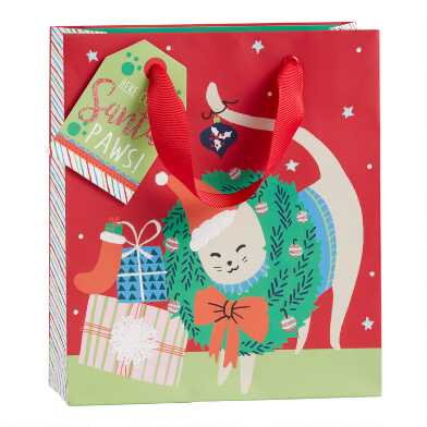 Small Red Festive Wreathed Cat Holiday Gift Bag Set Of 2