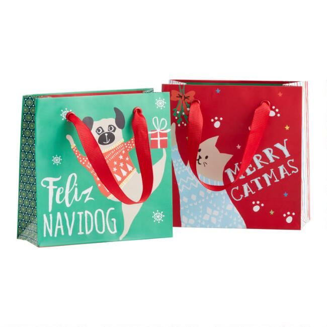 Mini Festive Cat And Dog Holiday Gift Bag Set Of 2