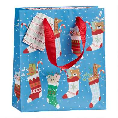 Small Blue Bear And Stockings Holiday Gift Bag Set Of 2