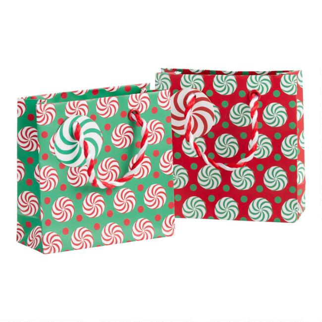 Mini Swirling Peppermint Holiday Gift Bag Set Of 2