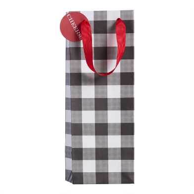 Black And White Buffalo Plaid Holiday Wine Bag Set Of 2