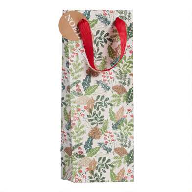Pine Bough And Holly Holiday Wine Bag Set Of 2