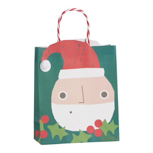 Medium Die Cut Santa Holiday Gift Bag