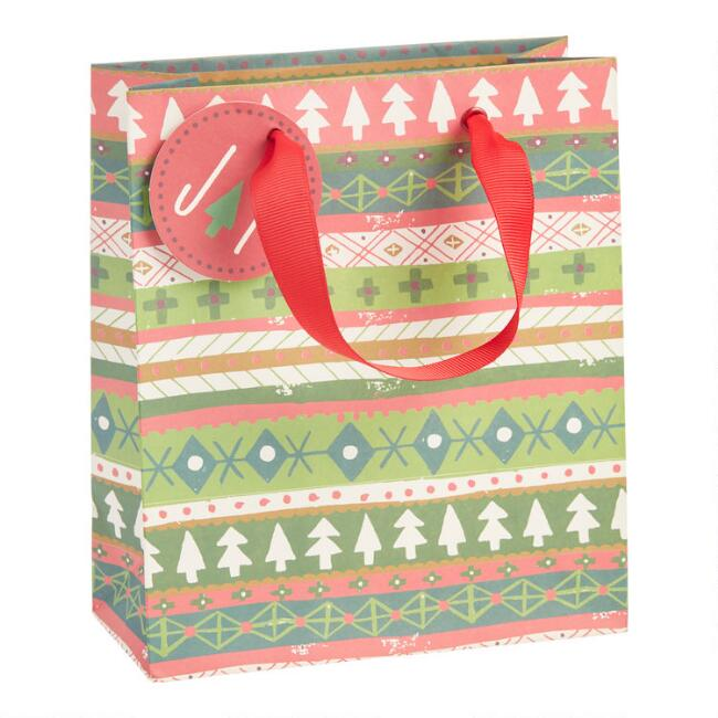 Small Striped Christmas Sweater Holiday Gift Bag Set of 2