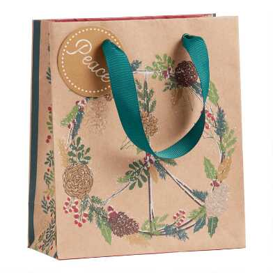 Small Pine Peace Sign Kraft Holiday Gift Bag Set of 2