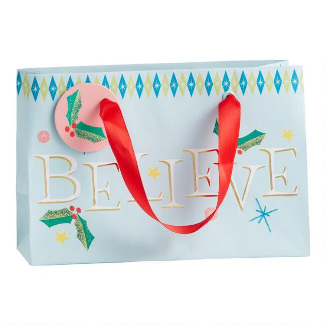 Small Believe Holiday Gift Bag Set Of 2