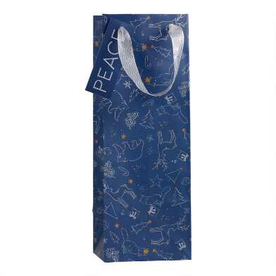 Navy Christmas Constellations Holiday Wine Bags Set Of 2