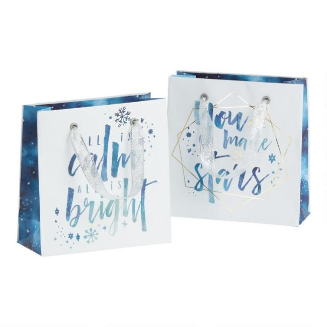Mini All Is Calm Holiday Gift Bag Set Of 2