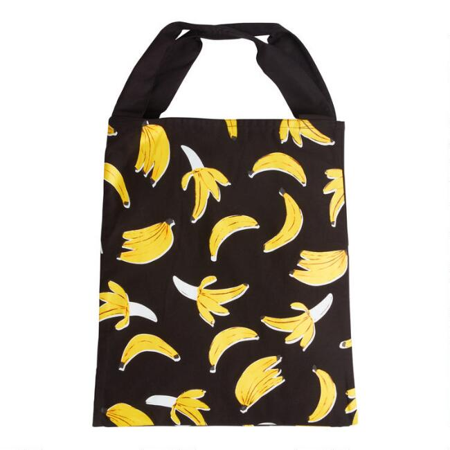 Large Black Banana Canvas Tote Bag