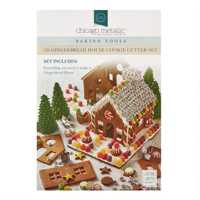 Chicago Metallic 3D Gingerbread House Cookie Cutter Kit
