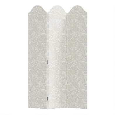 Suki Chinois Cream 3 Panel Kaia Upholstered Folding Screen