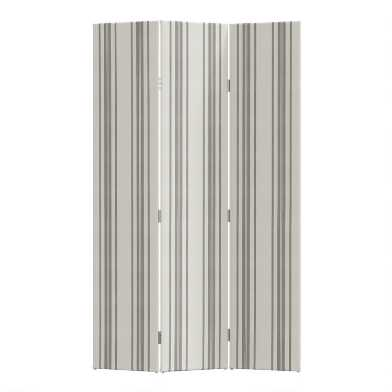 Philip Stripe 3 Panel Laurel Upholstered Folding Screen