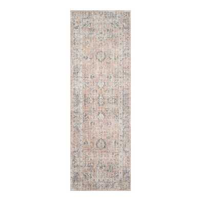 Blush and Gray Distressed Persian Style Paros Floor Runner