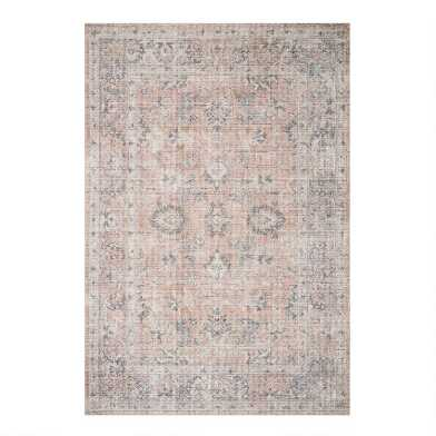 Blush and Gray Distressed Persian Style Paros Area Rug