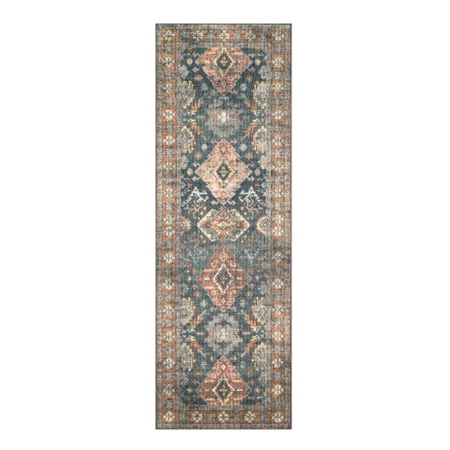 Sea Green and Rust Persian Style Syros Floor Runner