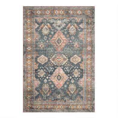 Sea Green and Rust Persian Style Syros Area Rug