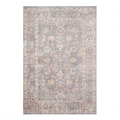 Gray and Apricot Persian Style Icaria Area Rug