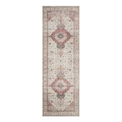 Ivory and Berry Distressed Persian Style Patmos Floor Runner