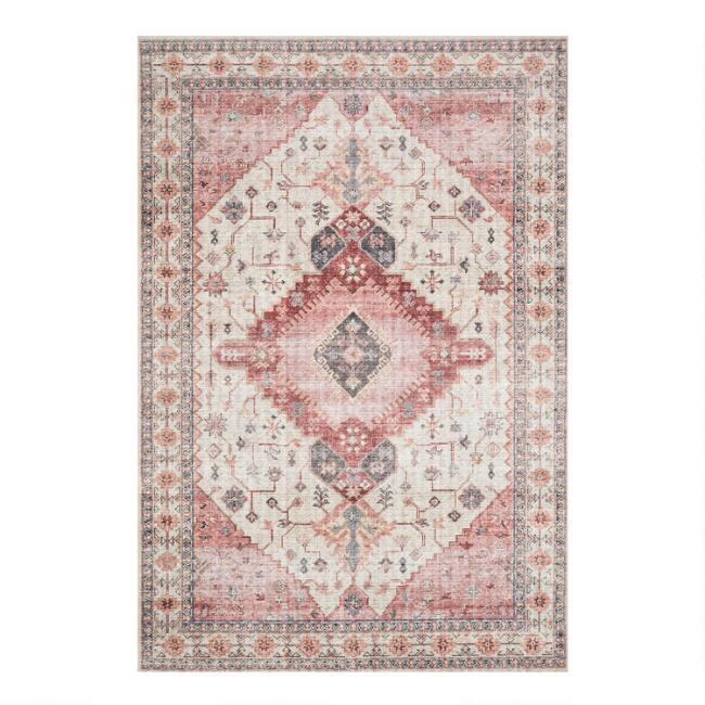 Ivory and Berry Distressed Persian Style Patmos Area Rug
