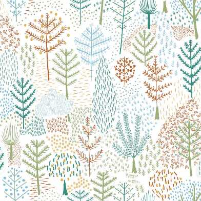 Multicolor Folklore Trees Peel And Stick Wallpaper