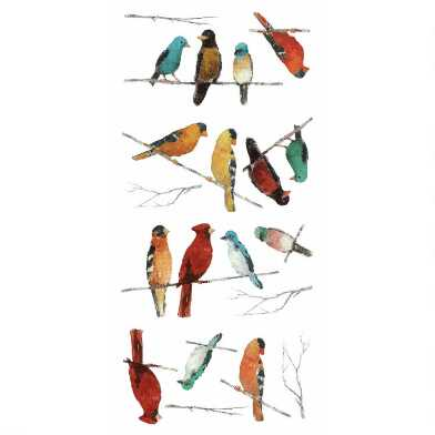 Multicolor Songbirds Peel And Stick Wall Decals 14 Piece